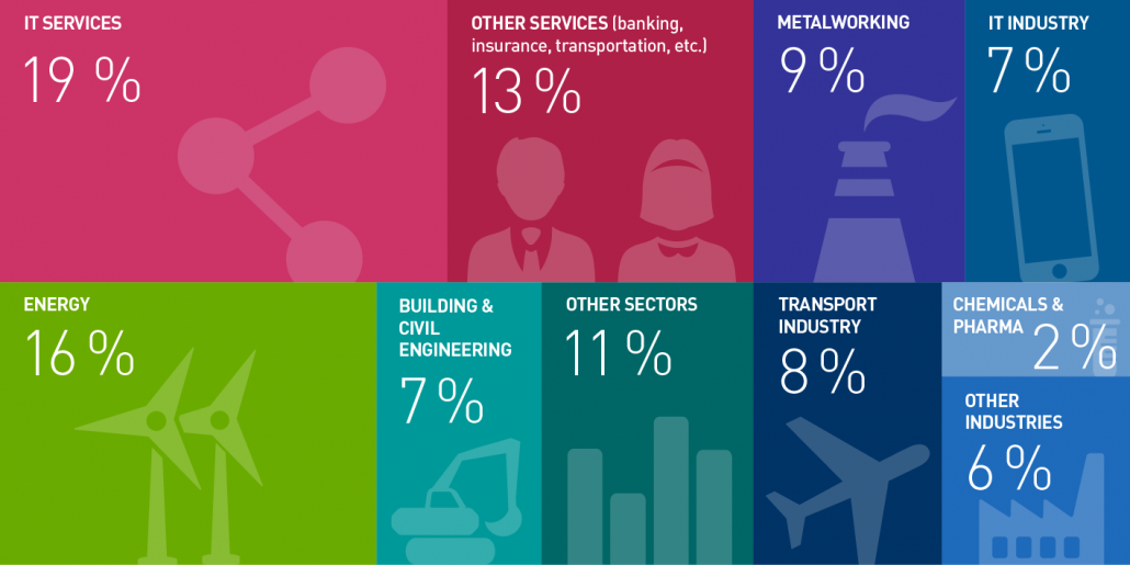 Economic sectors where young engineering graduates and managers are present